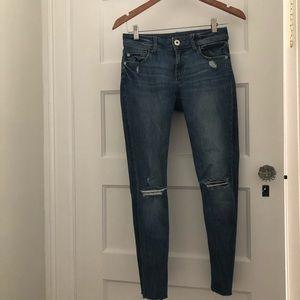 DL 1961 raw hem instasculpt ankle jeans